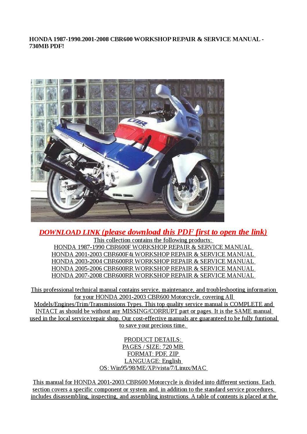2004 honda cbr600rr service manual pdf