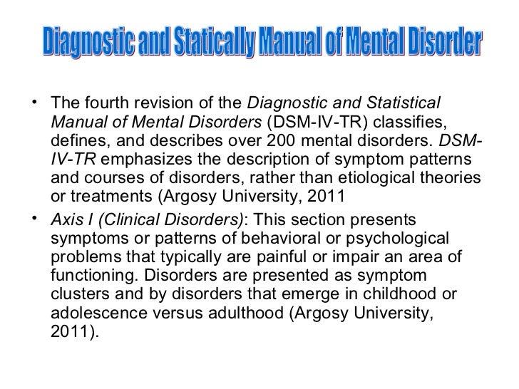 the diagnostic statistical manual of mental disorders