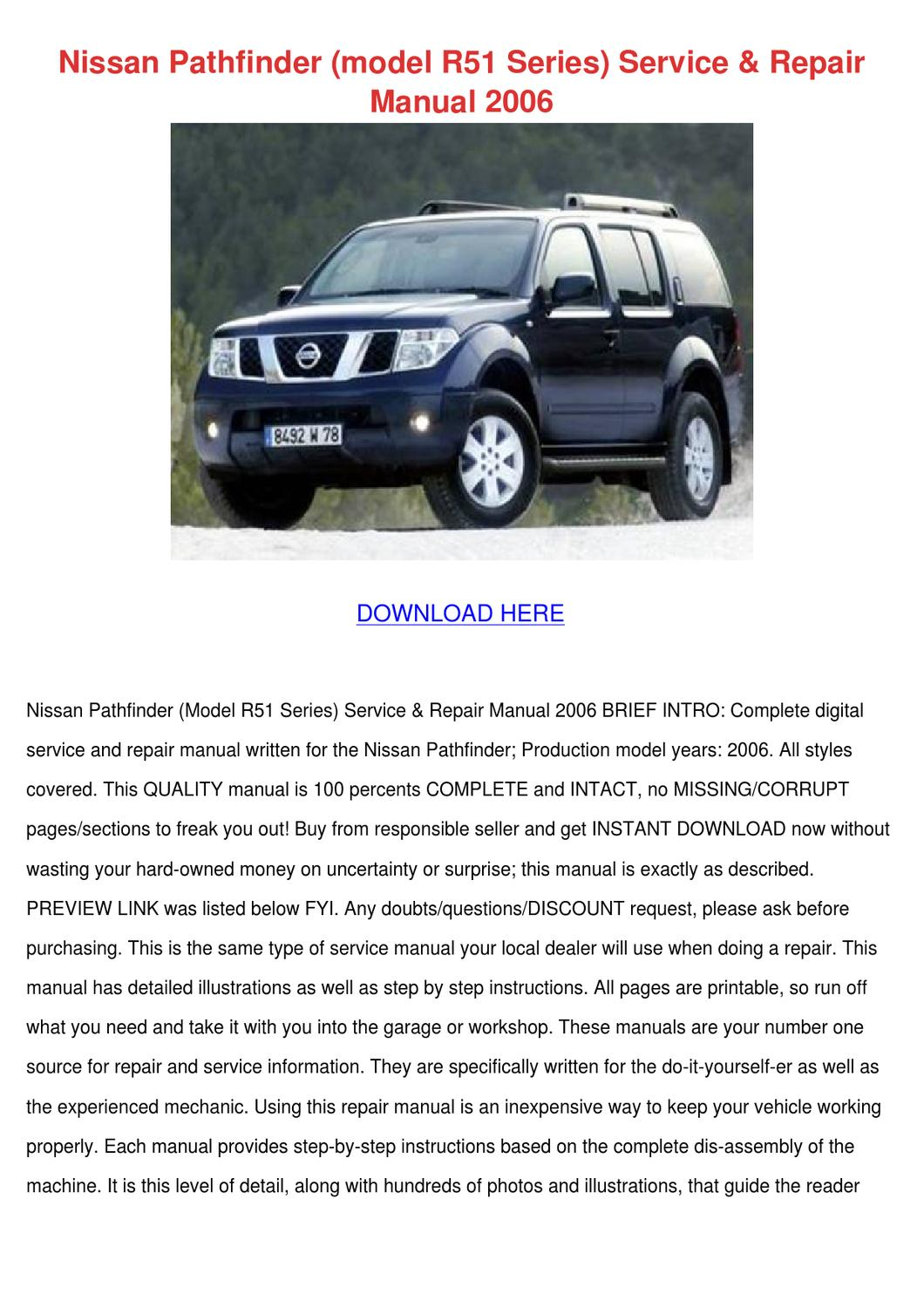 nissan pathfinder r51 workshop manual