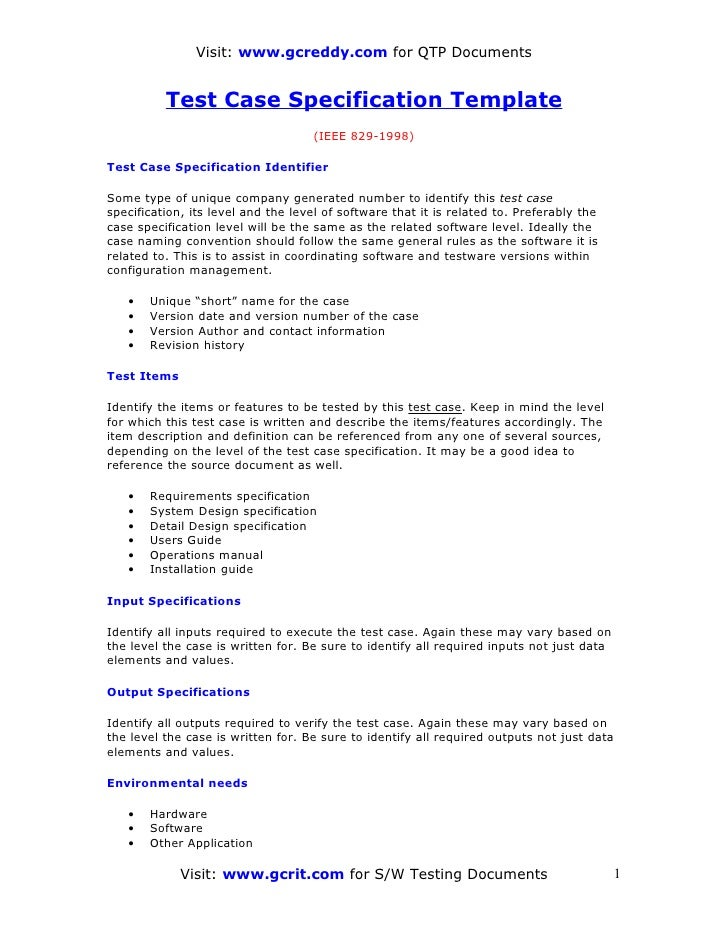 test case template for manual testing